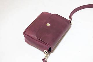 Сумочка Макарун міні, Вінтажна шкіра, колір Бордо, фото 2