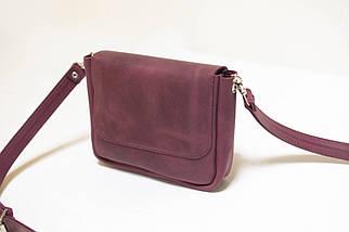 """Женская кожаная сумка """"Макарун мини"""", Винтажная кожа, цвет Бордо, фото 2"""