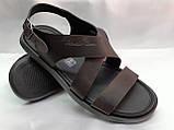 Стильные тёмно-коричневые кожаные сандалии Rondo, фото 2