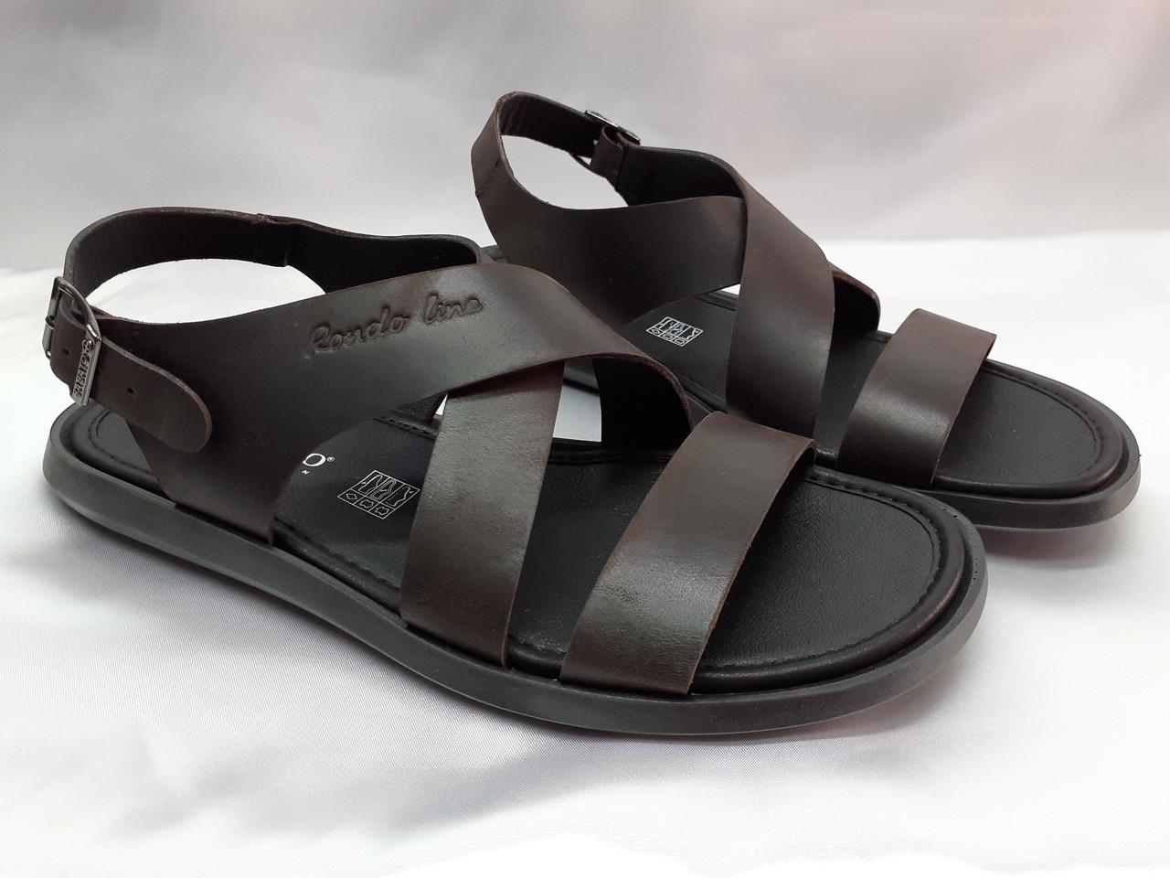 Стильные тёмно-коричневые кожаные сандалии Rondo