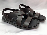 Стильные тёмно-коричневые кожаные сандалии Rondo, фото 1