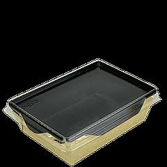 Салатник с прозр. пласт. крышкой Крафт/Черный 145*95*45мм 400мл 50шт/уп