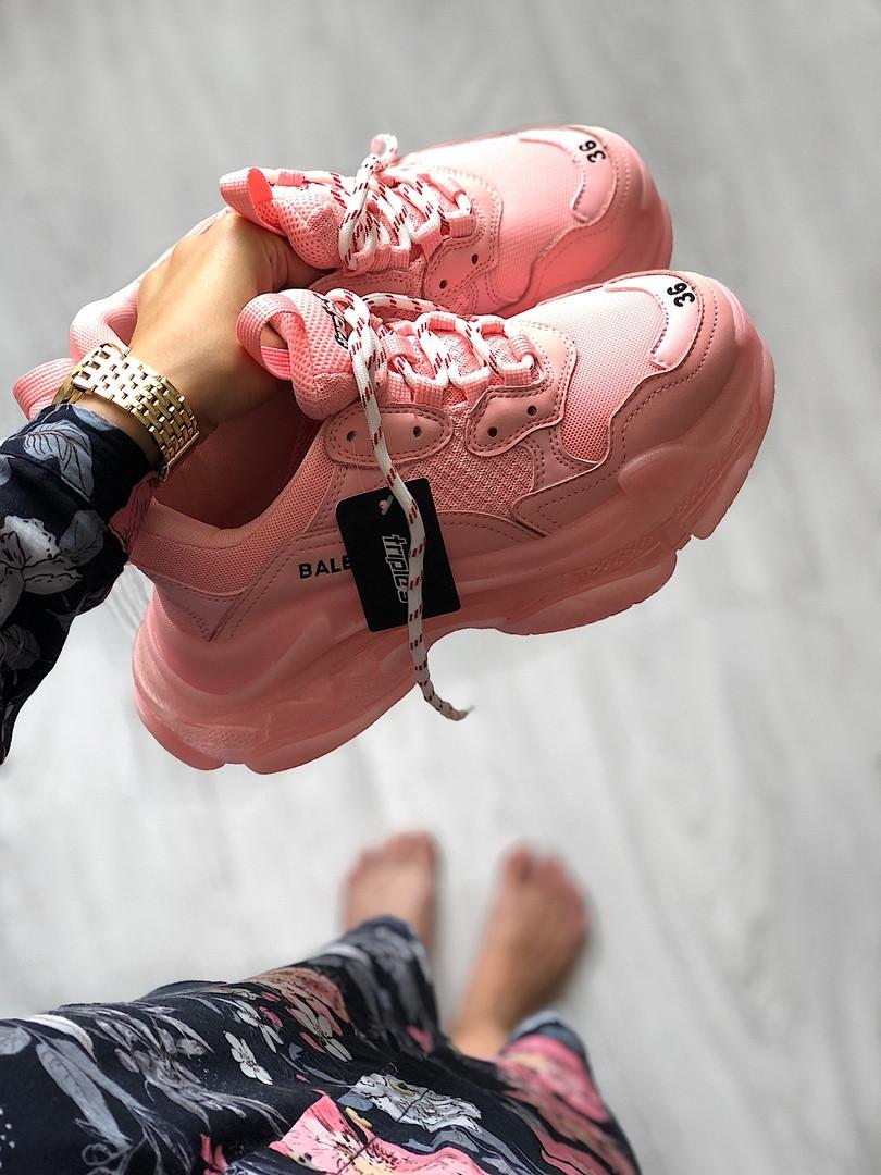 "Женские кроссовки Balenciaga Triple S ""Pink"" в стиле Баленсиага"