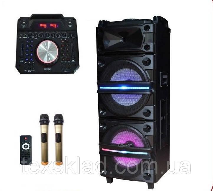 Колонка аккумуляторная с Диджей Микшером DJ-1034 + 2 радиомикрофона (250W/USB/BT/FM)
