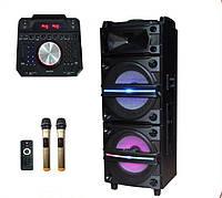 Колонка аккумуляторная с Диджей Микшером DJ-1034 + 2 радиомикрофона (250W/USB/BT/FM), фото 1