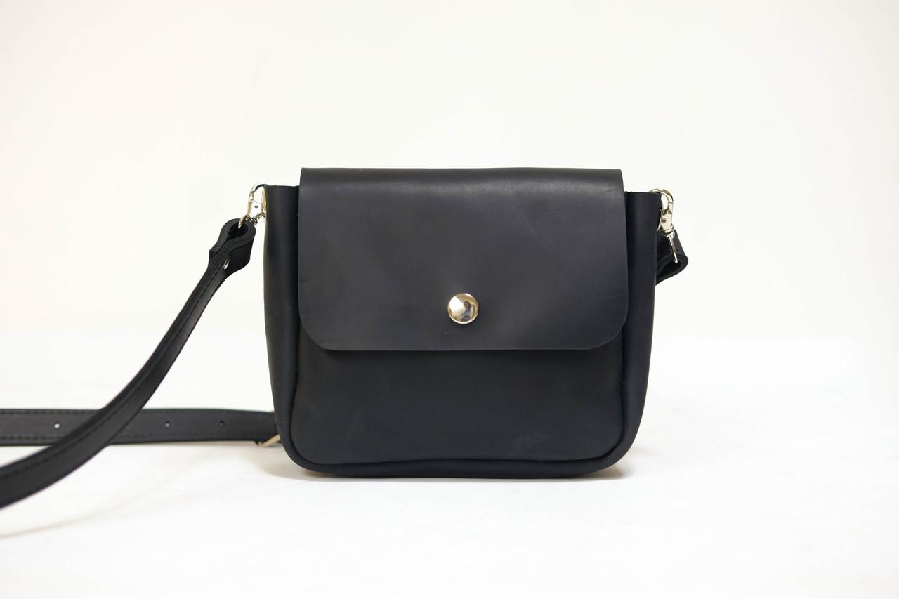 """Женская сумка """"Модель №21 мини"""" Винтажная кожа цвет Черный"""