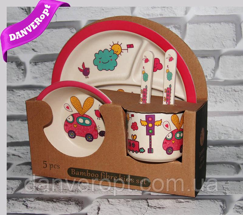 Посуда детская ZAYKA подарочный набор эко бамбук купить оптом со склада 7км Одесса