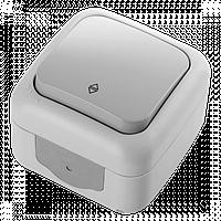 Вимикач 1кл прохідний зовнішній IP54 VIKO Palmiye Сірий