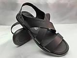 Стильные чёрные кожаные сандалии Rondo, фото 4