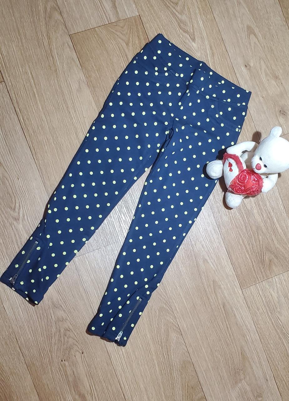 Хлопковые стрейчевые треггинсы  синие в горошек брюки на девочку с молниями внизу Crazy8 (США) (Размер 5-6Т)