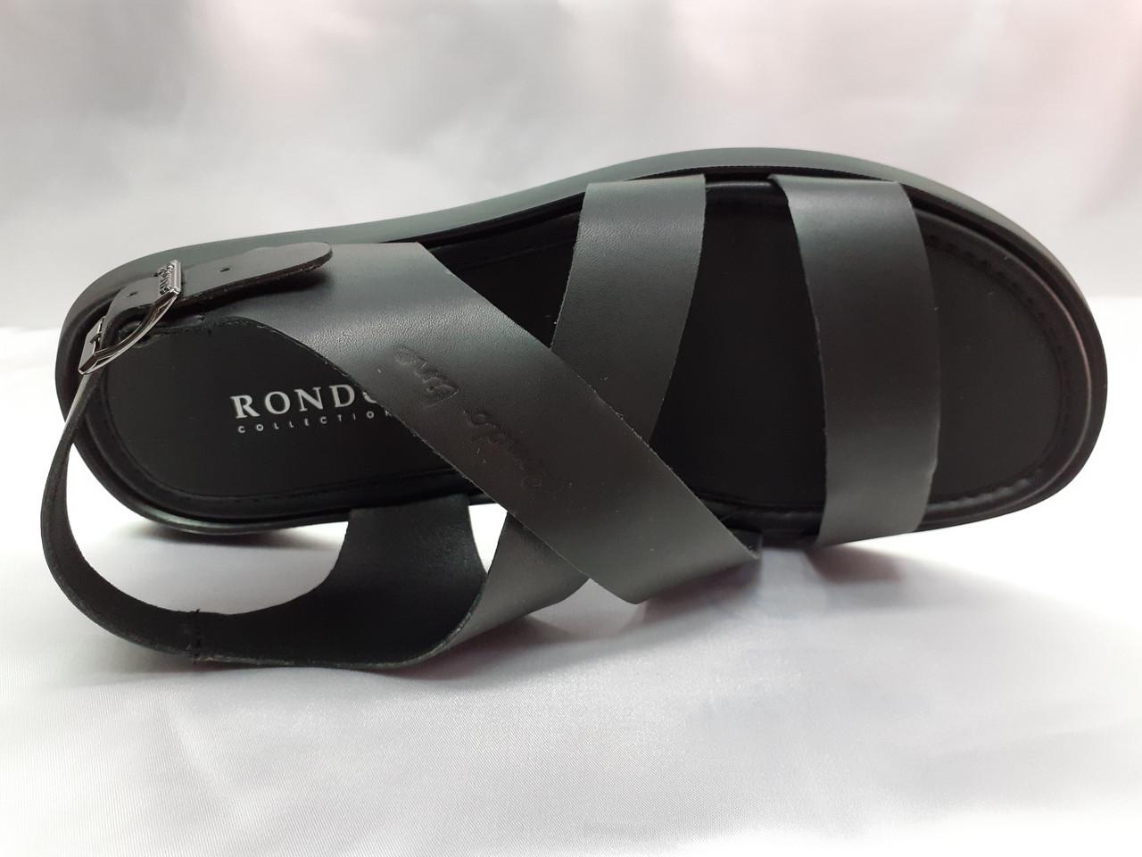 Стильные чёрные кожаные сандалии Rondo