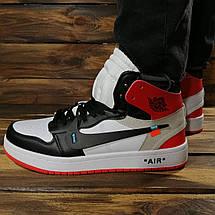 Кроссовки мужские в стиле Nike Air Jordan Off-White белые с красными и черными вставками, фото 3