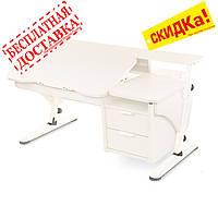 """Белый письменный стол для ребёнка """"Эргономик с тумбой"""""""