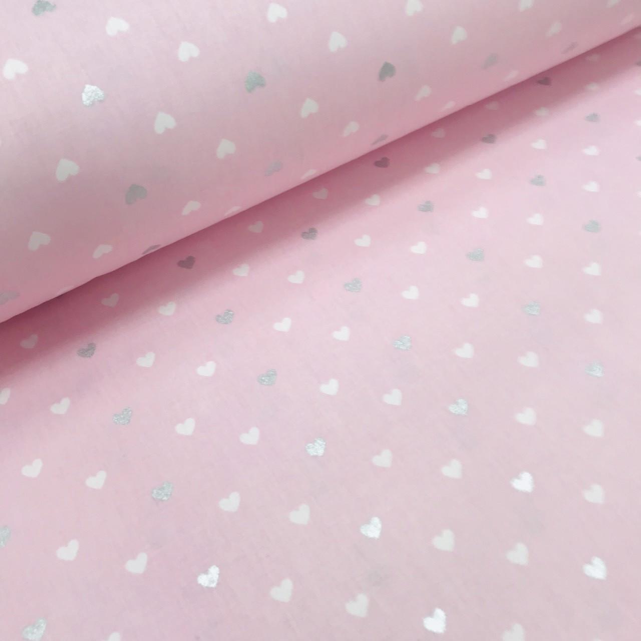 Хлопковая ткань (ТУРЦИЯ шир. 2,4 м) сердца мелкие бело-серебряные ( глиттер) на розовом