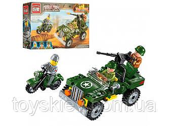 Конструктор BRICK 1703 военный, джип, мотоцикл, фигурки 99 дет.