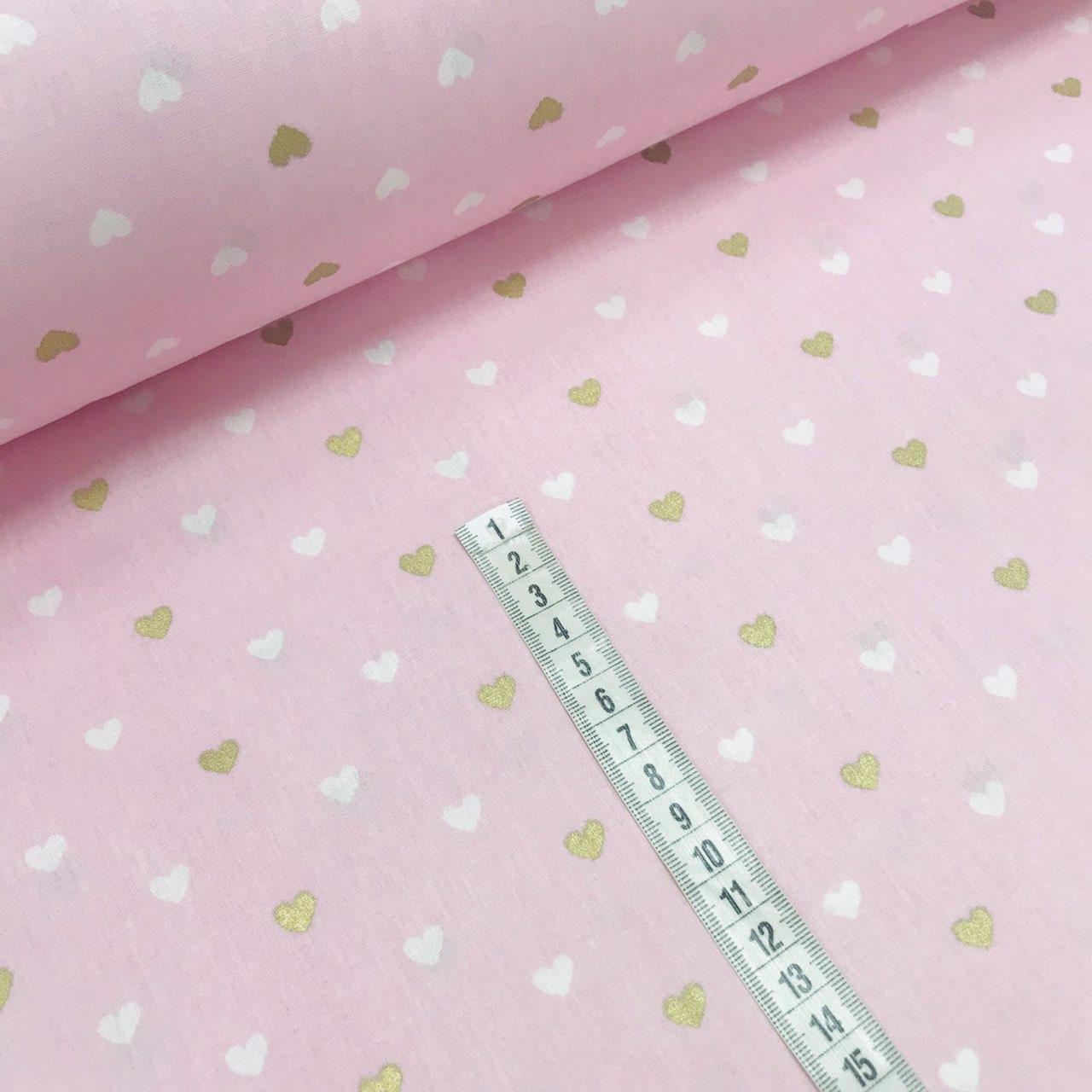 Хлопковая ткань (ТУРЦИЯ шир. 2,4 м) сердца мелкие бело-золотые (глиттер) на розовом