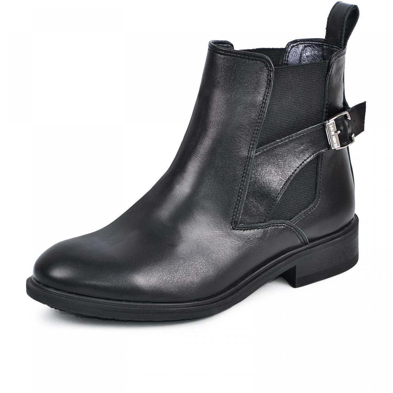 Осенние женские ботинки кожаные 36-40 черная кожа