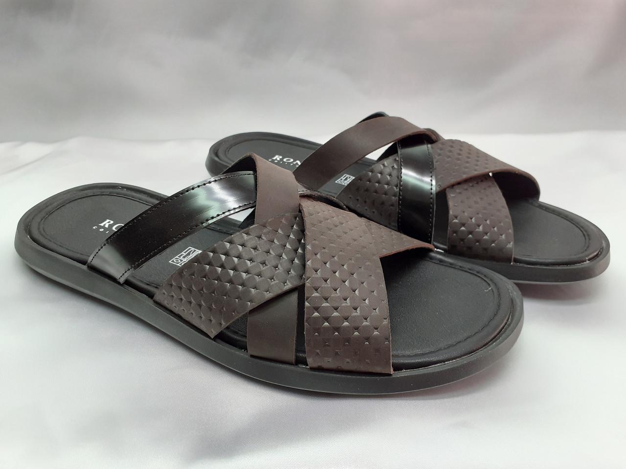 Стильные кожаные тёмно-коричневые шлёпанцы Rondo