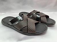 Стильные кожаные тёмно-коричневые шлёпанцы Rondo, фото 1
