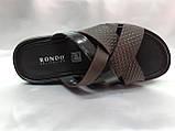 Стильные кожаные тёмно-коричневые шлёпанцы Rondo, фото 5