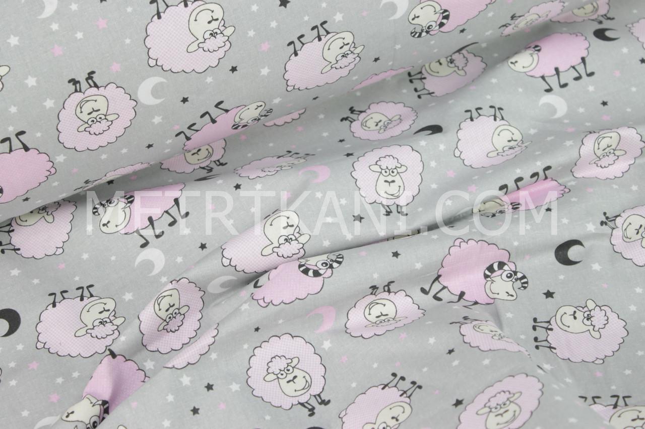 """Ткань бязь """"Веселые овечки""""  розовые на сером № 905"""
