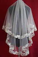 Свадебная фата с кружевом расшитым пайетками sf-156