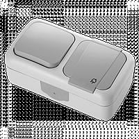 Вимикач + Розетка із заземленням  IP54 VIKO Palmiye сірий