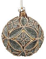 """Новогодний шар стекло """"Узор"""" елочный шар, 8см рельефной формы с декором из глиттер, цвет- золотог, набор 12 шт"""