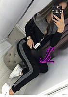 Женский спортивный костюм lux кофта на молнии штаны с манжетом вставка люрекс 2 цвета, фото 1