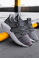 Мужские кроссовки Adidas Prophere Grey Solar Red, Реплика, фото 1