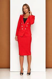 Красный женский деловой костюм с юбкой карандаш