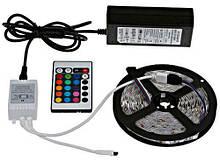 Светодиодная лента в комплекте 5 метров SMD 5050 RGB + блок питания контроллер и пульт