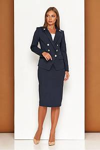 Синий женский деловой костюм с юбкой карандаш