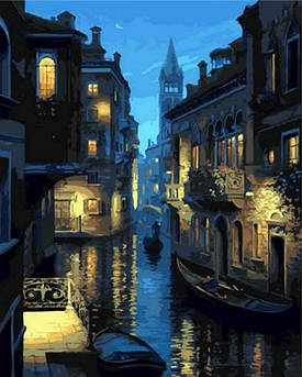 Картина по номерам Ночная Венеция. Худ. Лушпин Евгений, 40x50 см Mariposa