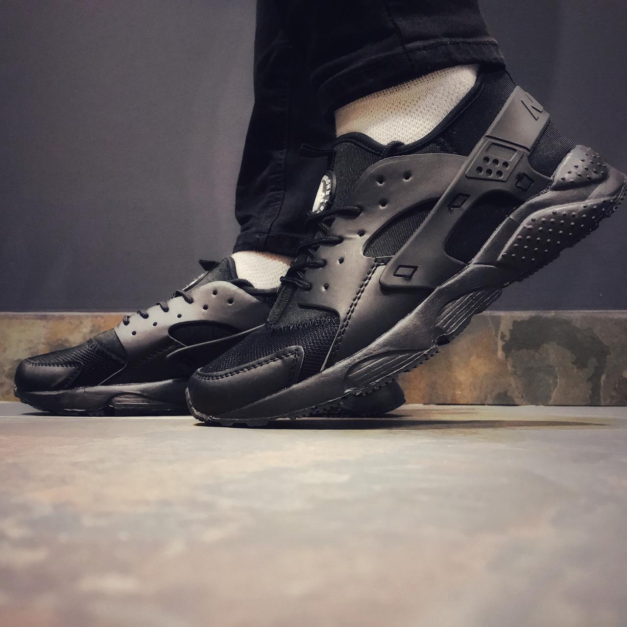 Кроссовки мужские в стиле Nike Huarache черные текстильные