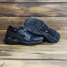 Кроссовки мужские в стиле Nike Huarache черные текстильные, фото 3