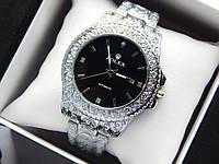 Rolex -  кварцевые наручные часы с узором, серебряного цвета с черным циферблатом, фото 1