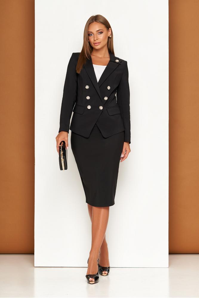 Черный женский деловой костюм с юбкой карандаш