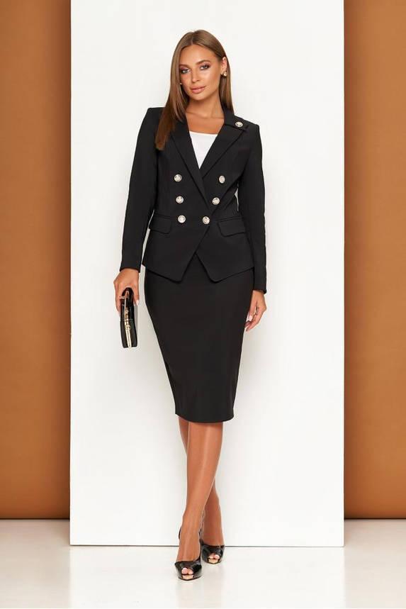 Черный женский деловой костюм с юбкой карандаш, фото 2