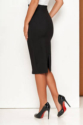 Черный женский деловой костюм с юбкой карандаш, фото 3