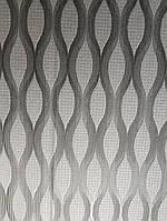 Виниловые обои  GranDeco FUSION A25004 серые с серебристыми точками черная волна в полоску