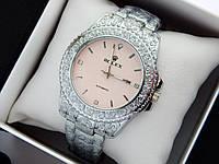 Rolex - кварцові наручні годинники з візерунком, срібного кольору з рожевим циферблатом, фото 1