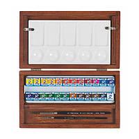 Набор акварельных красок, VAN GOGH, 24кюветы,кисти - 2шт, палитра, дер.коробка, Royal Talens
