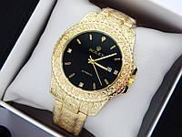 Rolex -  кварцевые наручные часы с узором, золотого цвета с черным циферблатом, фото 1