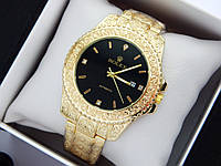 Rolex - кварцові наручні годинники з візерунком, золотого кольору з чорним циферблатом, фото 1