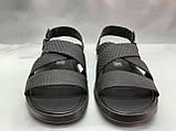 Стильные чёрные кожаные сандалии с теснением Rondo, фото 5
