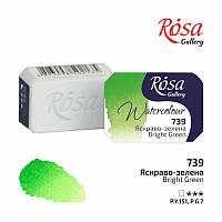 Краска акварельная, Ярко-зеленая, 2,5мл, ROSA Gallery