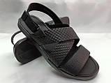 Стильные чёрные кожаные сандалии с теснением Rondo, фото 3