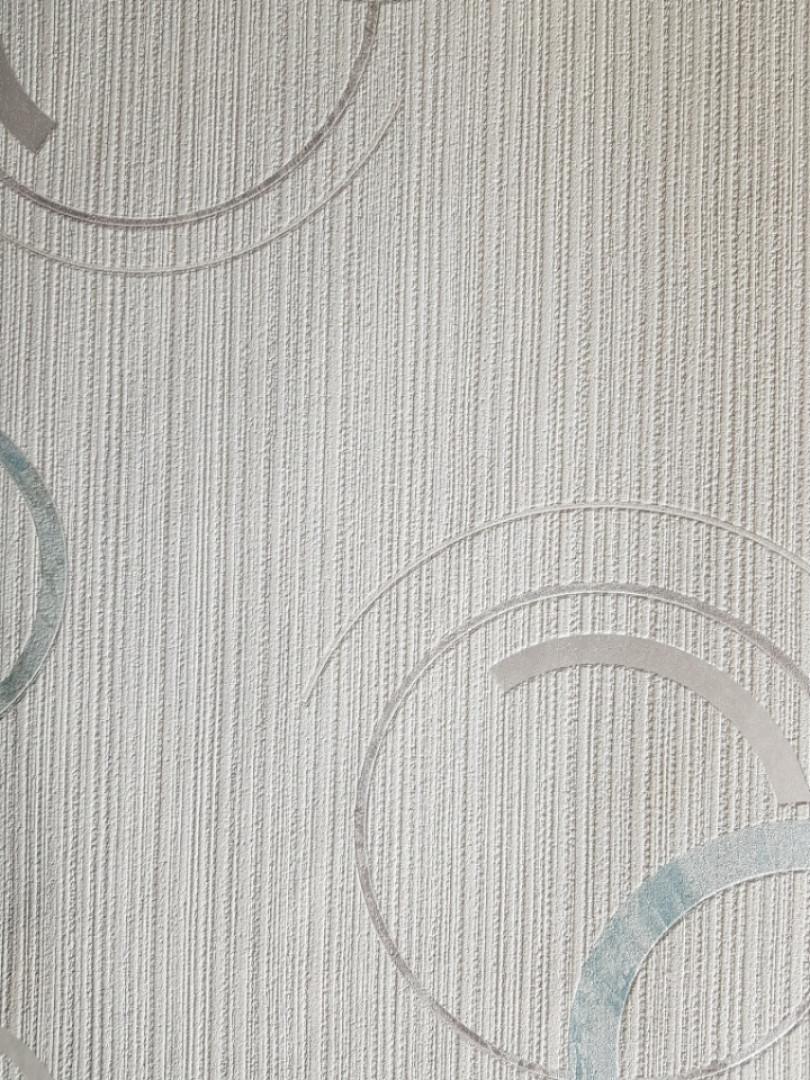 Виниловые обои  GranDeco FUSION A24802 белые в полоску круги бирюзовые серые