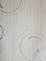 Виниловые обои  GranDeco FUSION A24802 белые в полоску круги бирюзовые серые, фото 1